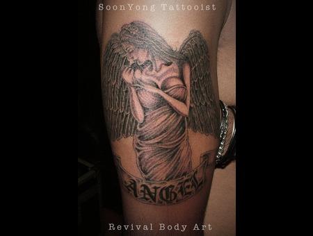 Angel  Tattoo Girl Black Grey Arm