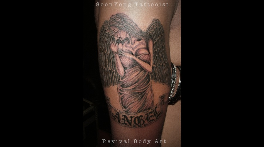 Angel  Tattoo Girl Black Grey Arm