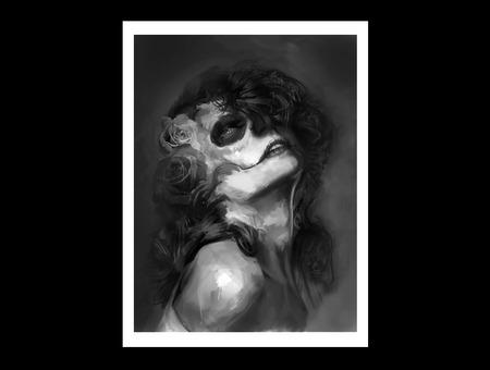 Dod Dayofthedead Dia De Los Muertos Painting Black Grey