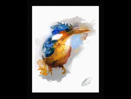 Kingfisher Bird Painting Art Color