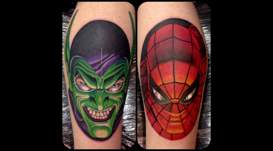 Spiderman And Green Goblin Color Lower Leg