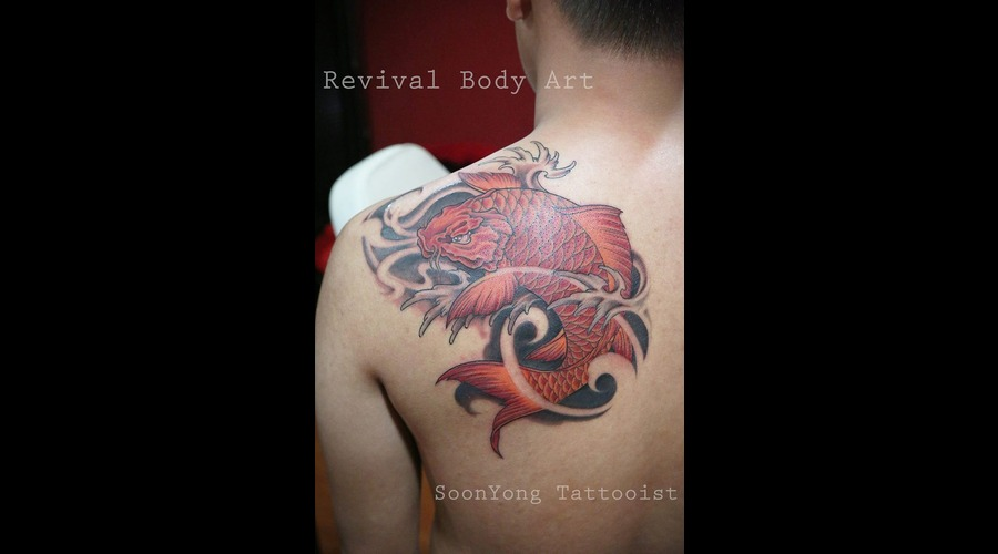 Japanese Koi Fish  Custom Design Color Shoulder