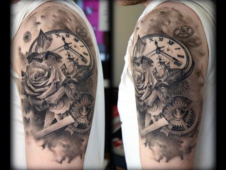 Watch  Rose  Clock  Gears Black Grey Arm