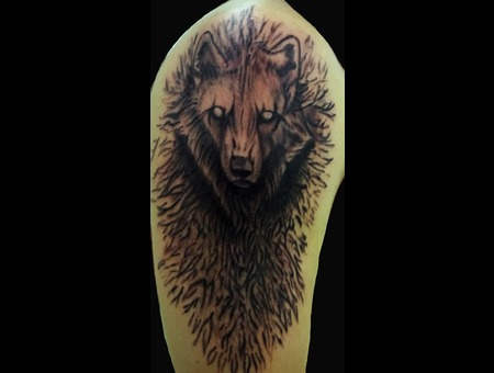 Mystical Wolf Black Grey Arm