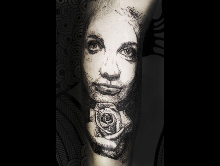Portrait Tattoo Black Grey Arm