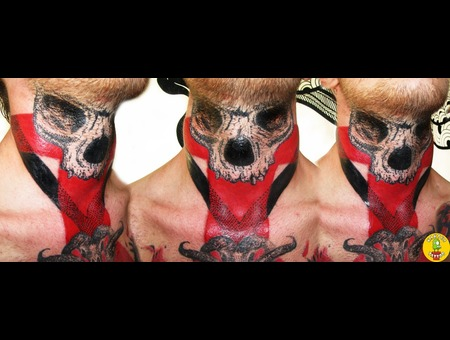 Skull Tattoo Color Neck