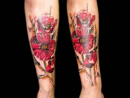 Poppies Tattoo Color Arm
