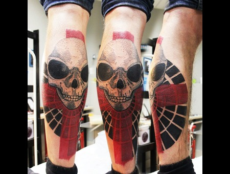 Skull Tattoo Black Grey Lower Leg