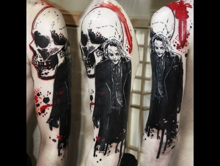 Joker Tattoo Black Grey Shoulder