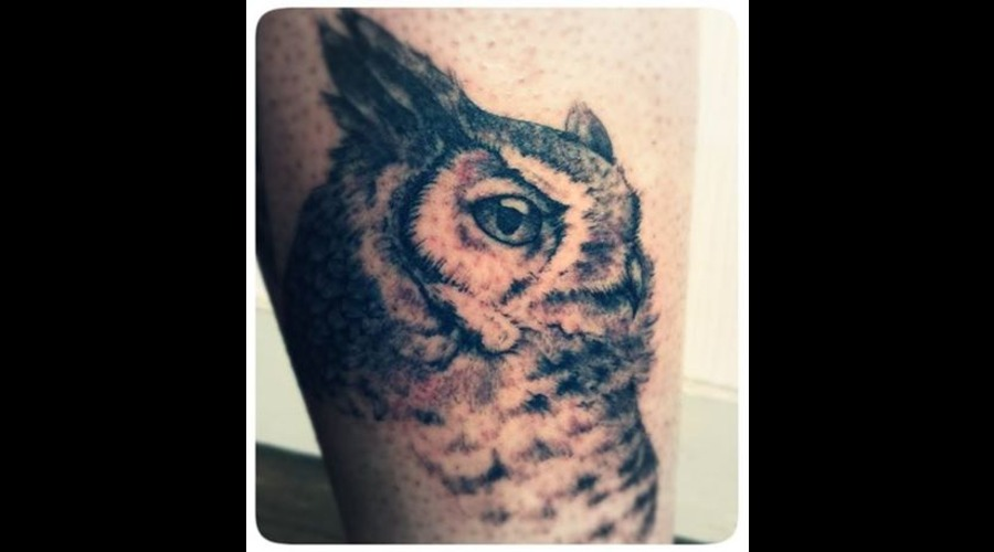 Owl  Realistic Black Grey Lower Leg
