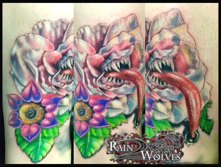 Monster  Flower  Tongue  Piercing  Teeth  Realism Lower Leg