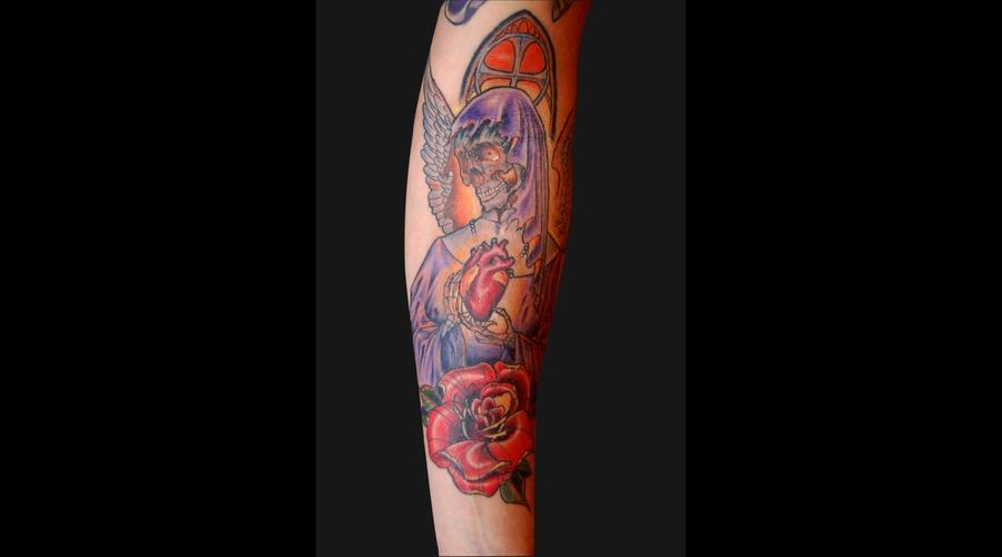 Angel  Marry  Saint  Skull  Heart  Sacred  Rose  Wings  Robe  Color Forearm