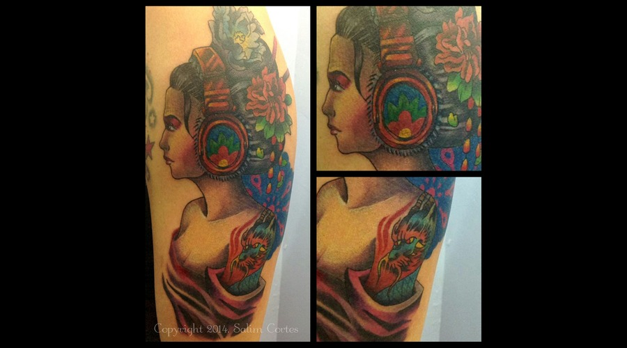 Geisha  Color Tattoo  Dragon  New School Color Arm