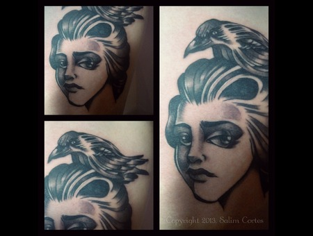 Black And Grey Tattoo  Crow  Woman Black Grey Ribs