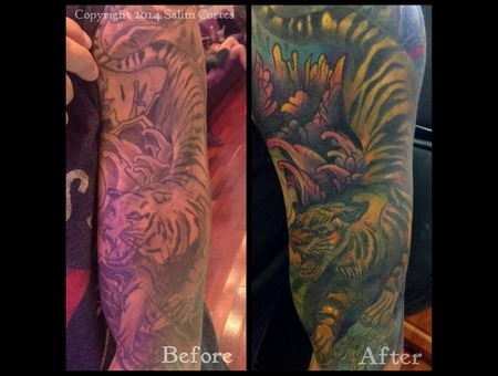 Color Tattoo  Tattoo Cover Up  Japanese  Tiger  Flowers  Nature    Color Arm