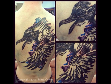 Watercolor  Black And Grey Wash  Realism  Raven  Color Back