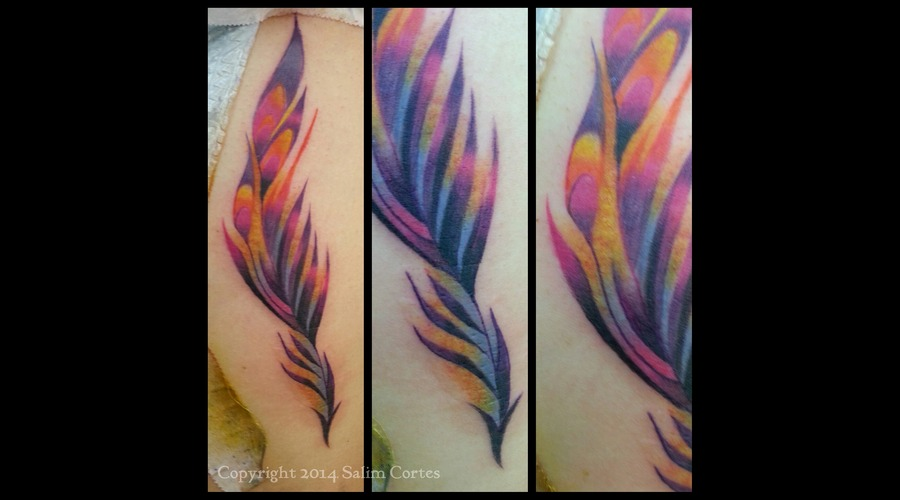 Feather  Color Tattoo  Abstract  Surrealism Color Ribs