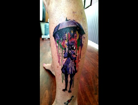 Water Color Tattoo Color Lower Leg