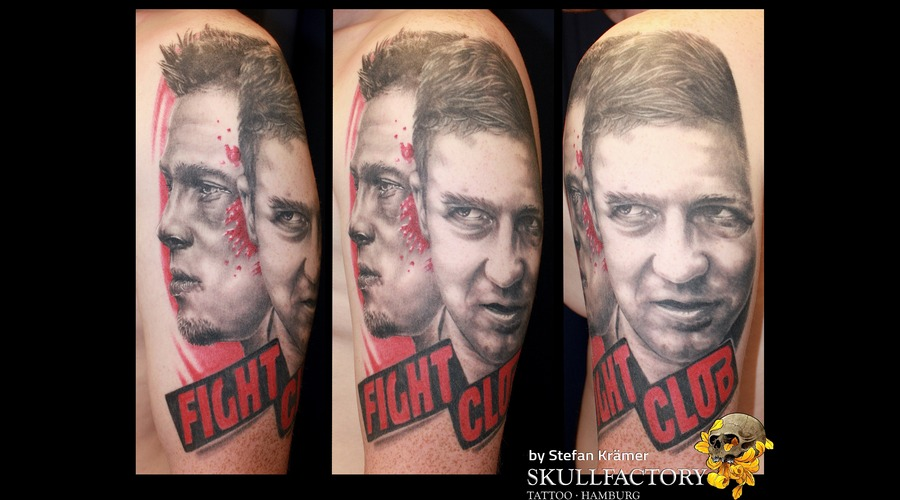 Fight Club Portrait  Healed Black Grey Arm