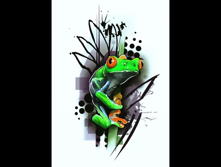 Design Drawing Frog Flash Tattoo New Modern Abstract  Color
