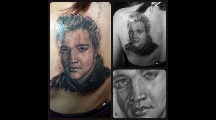Elvis Black & Grey Portrait Black Grey Shoulder