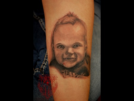 Portrait Boy Realism Baby Black Grey Forearm