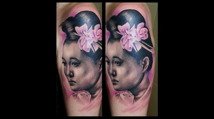 Realistic  Black And Grey  Geisha Tattoo Black Grey Arm