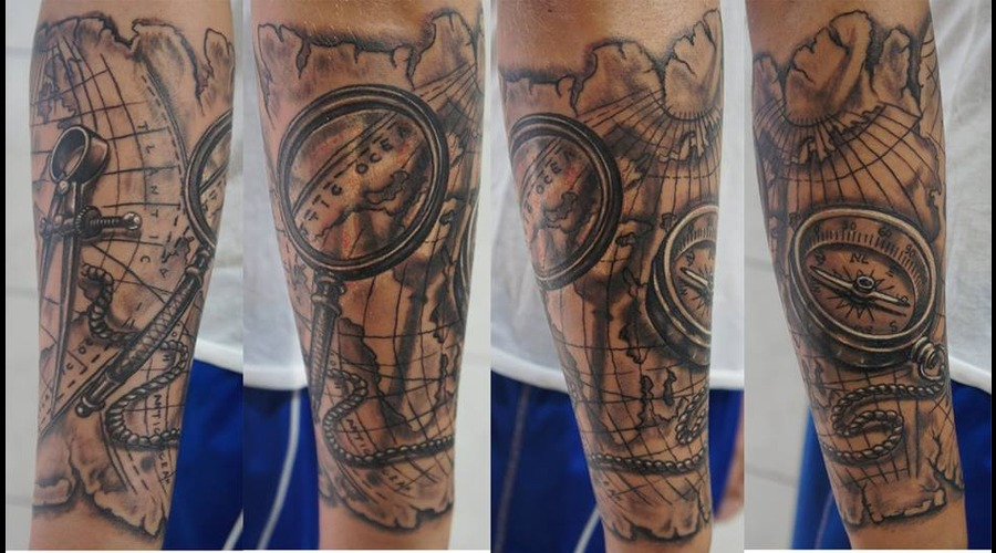 Ledja Qereshniku#Compass Tattoo#Map Tattoo#Rodos Ink# Black Grey Forearm