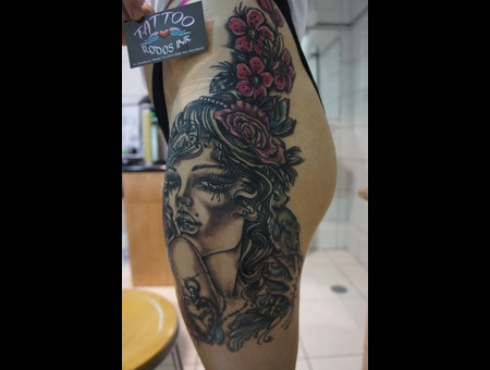 Ledja Qereshniku#Ledja Tattoo Artist#Portrait#Flowers#Rodos Ink#Rhodos# Color Thigh