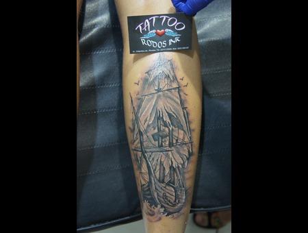 Pirate Ship Tattoo#Ledja Qereshniku#Ledja Tattoo Artist#Realistic#Rodos Ink Black Grey Lower Leg