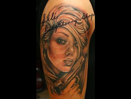 Realism  Portrait  Black And Grey  Women  Sexy  Gun  Black Grey Arm