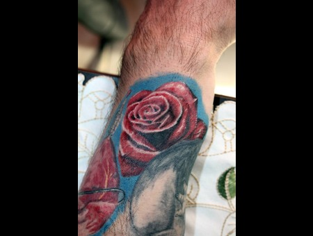 Rose  Realistic  Wrist  Red Flower  Floral Forearm