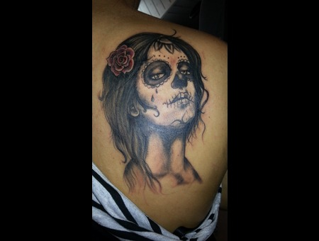 Santa Muerte  Portrait Shoulder
