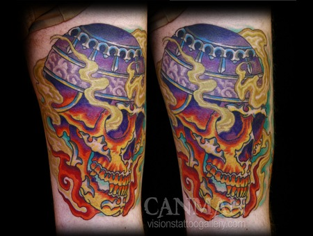 Fire  Tibetan Skull  Skull Color