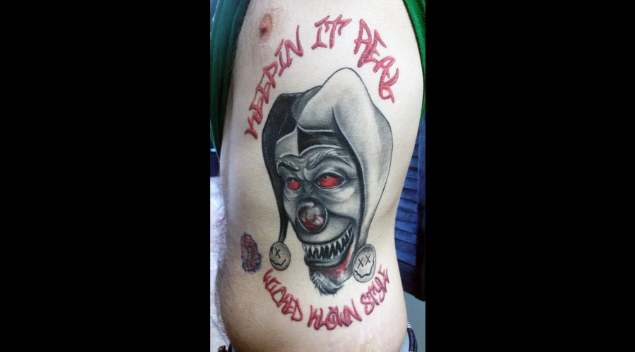 Clown Joker Freehand Lettering Ribs