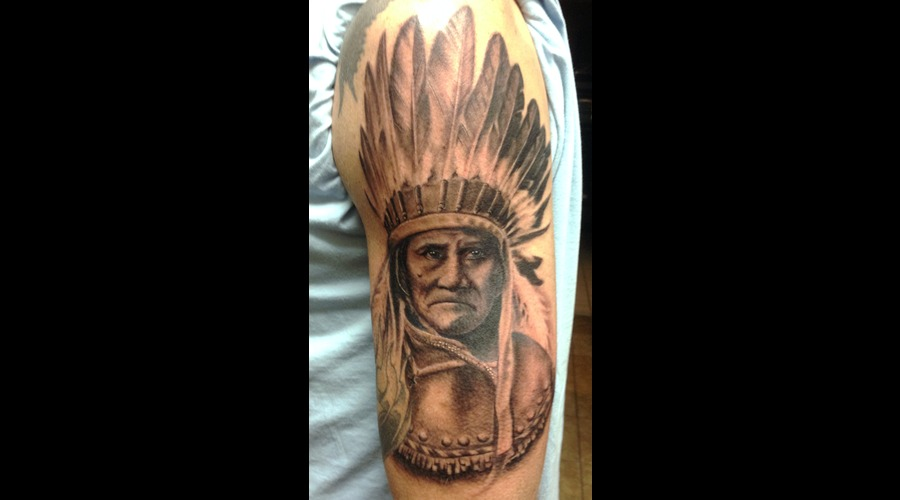 Geronimo Native American Headdress Feather Realism Portrait Arm