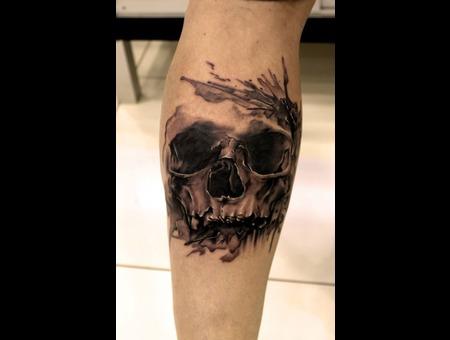 Water Color Skull  Lower Leg