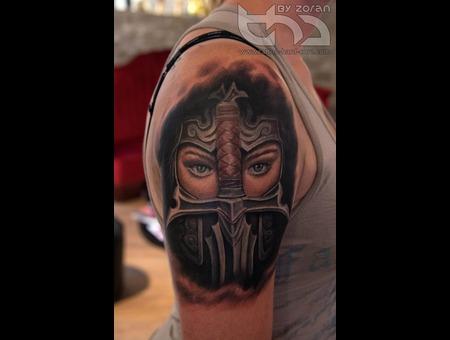 Warrior  Girl  Sword  Knite  Colour  Realistic  Shoulder