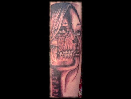 Skull  Girl  Black And Grey Lower Leg