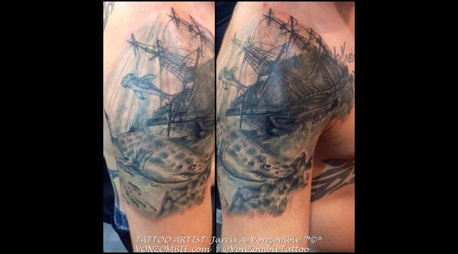 Sunken Ship  Trasure  Shark  3d  Realism Shoulder