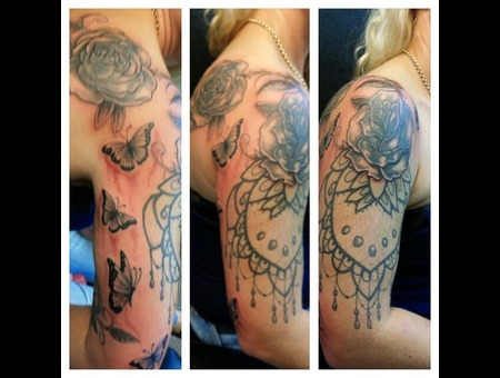 Roses With Lacey And Butterfly Cover Up Arm