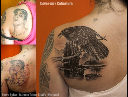 Cover Up Portrait Crow Raven  Back
