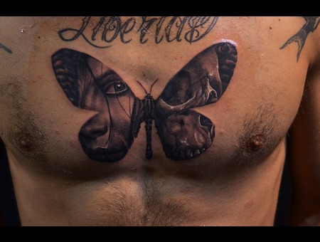 Moth Skull Portrait Life Death Moth Chest