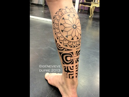 Polynesian  Tahitian  Blackwork  Calf Lower Leg