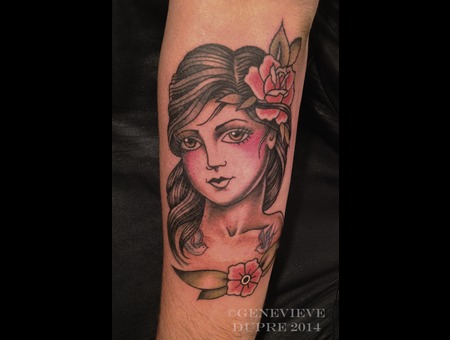 Portrait  Traditional  Pin Up   Forearm