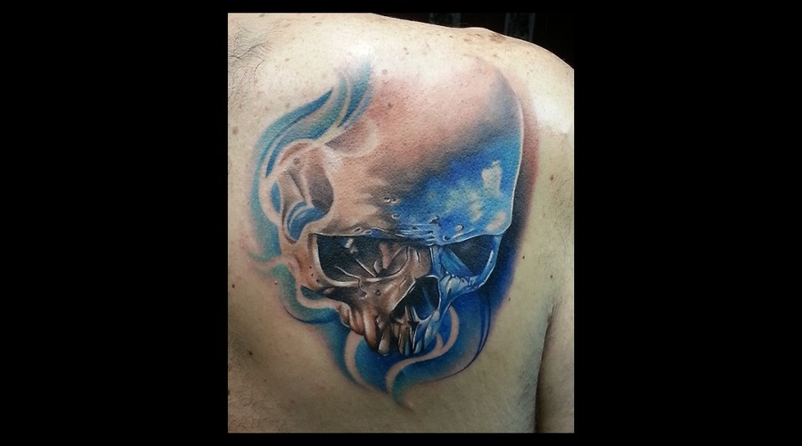 Color   Skull  Back Tattoo  Back