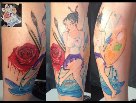 Art  Girl  Rose  Ink  Murasaki Lower Leg