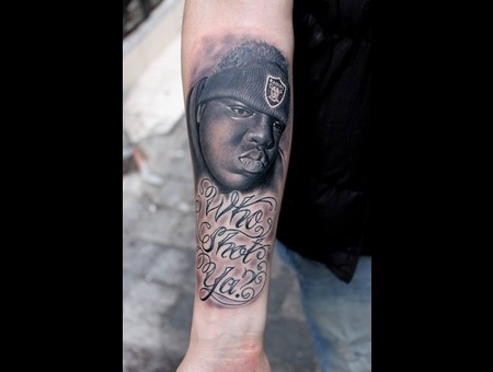 Notorious Big Black Gray Portrait Forearm