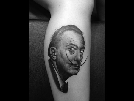 Salvador Dali Black Gray Portrait Lower Leg