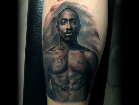 Tupac Black Gray Realism Portrait Lower Leg